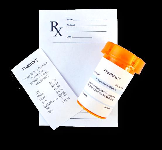 prescription, receipt and medicine